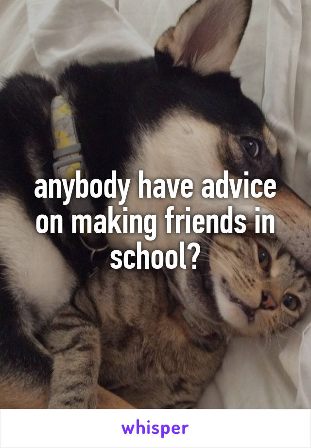 anybody have advice on making friends in school?