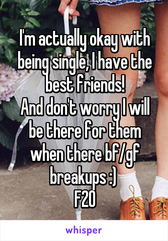 I'm actually okay with being single, I have the best friends! And don't worry I will be there for them when there bf/gf breakups :)  F20