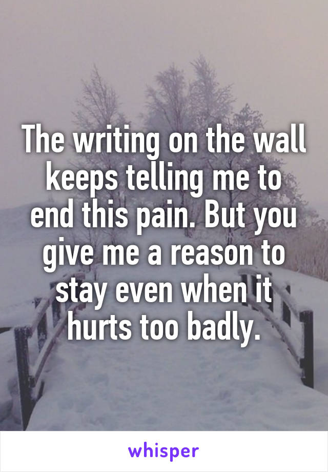 The writing on the wall keeps telling me to end this pain. But you give me a reason to stay even when it hurts too badly.