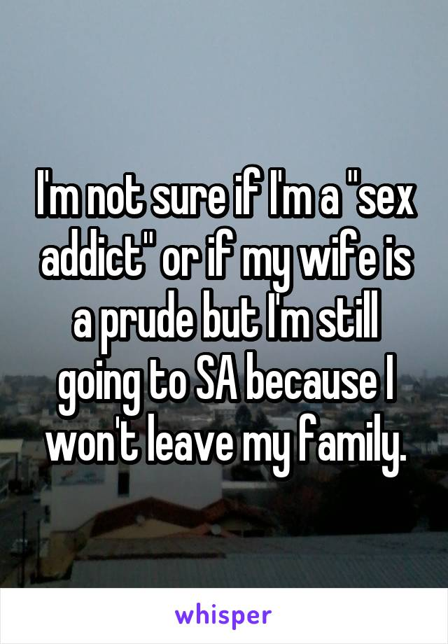 """I'm not sure if I'm a """"sex addict"""" or if my wife is a prude but I'm still going to SA because I won't leave my family."""