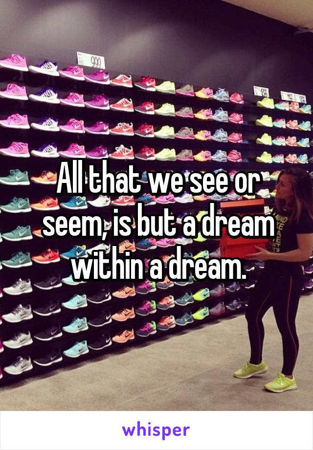 All that we see or seem, is but a dream within a dream.