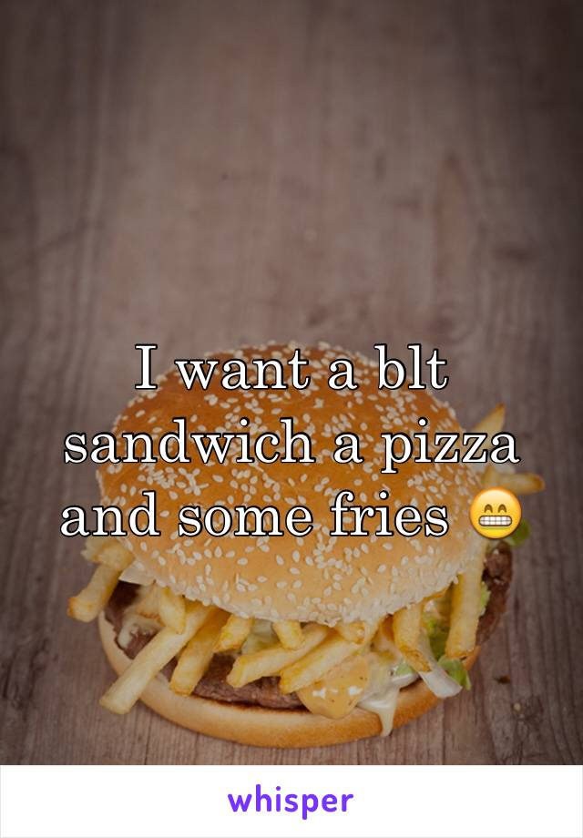 I want a blt sandwich a pizza and some fries 😁