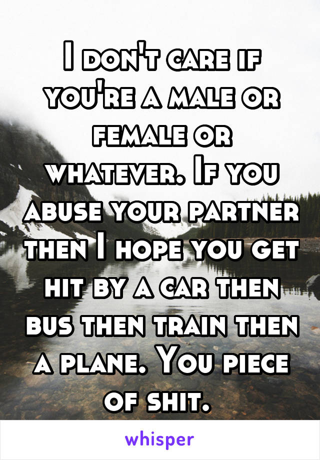 I don't care if you're a male or female or whatever. If you abuse your partner then I hope you get hit by a car then bus then train then a plane. You piece of shit.