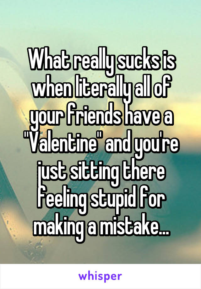 "What really sucks is when literally all of your friends have a ""Valentine"" and you're just sitting there feeling stupid for making a mistake..."