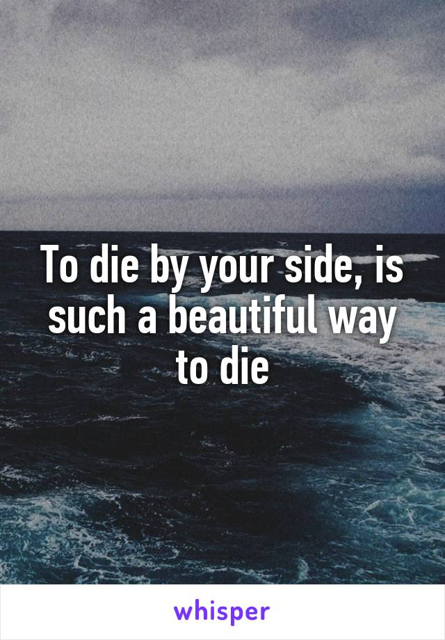 To die by your side, is such a beautiful way to die