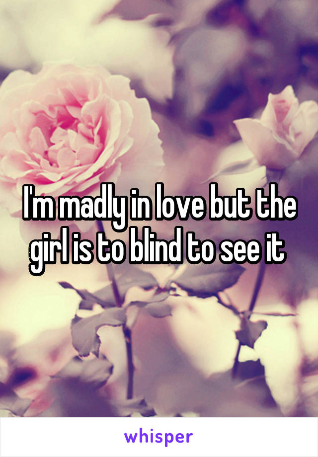 I'm madly in love but the girl is to blind to see it