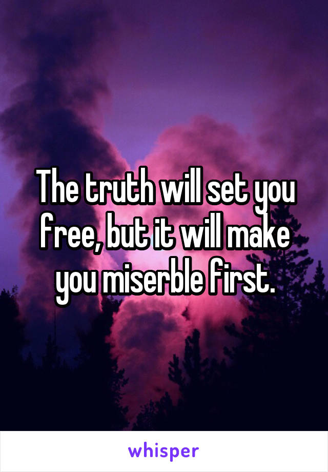 The truth will set you free, but it will make you miserble first.
