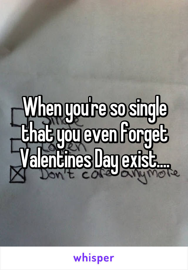When you're so single that you even forget Valentines Day exist....