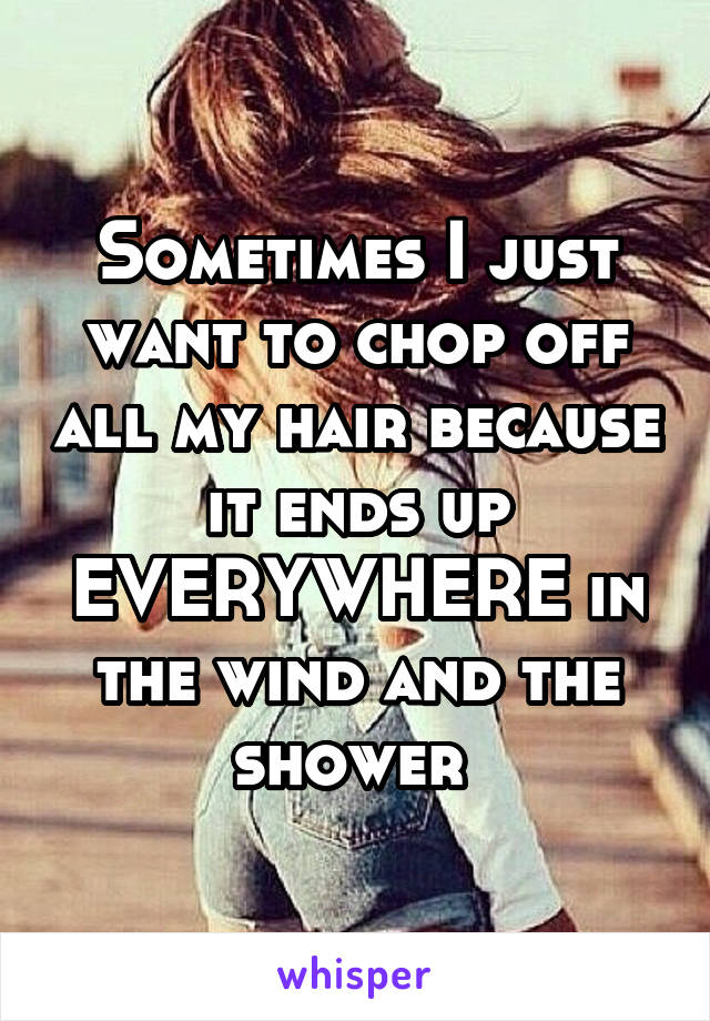 Sometimes I just want to chop off all my hair because it ends up EVERYWHERE in the wind and the shower