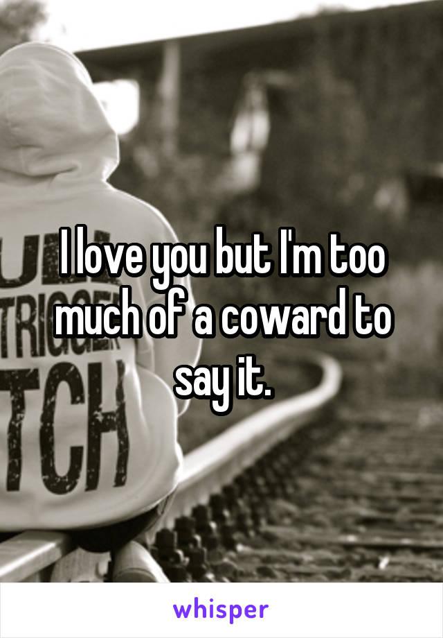 I love you but I'm too much of a coward to say it.