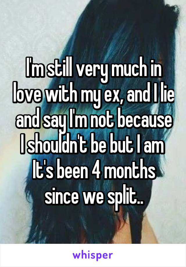 I'm still very much in love with my ex, and I lie and say I'm not because I shouldn't be but I am  It's been 4 months since we split..