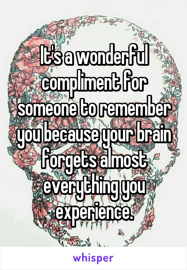 It's a wonderful compliment for someone to remember you because your brain forgets almost everything you experience.
