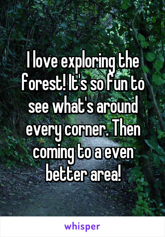 I love exploring the forest! It's so fun to see what's around every corner. Then coming to a even better area!