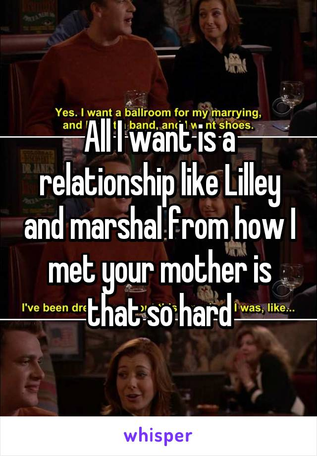 All I want is a relationship like Lilley and marshal from how I met your mother is that so hard