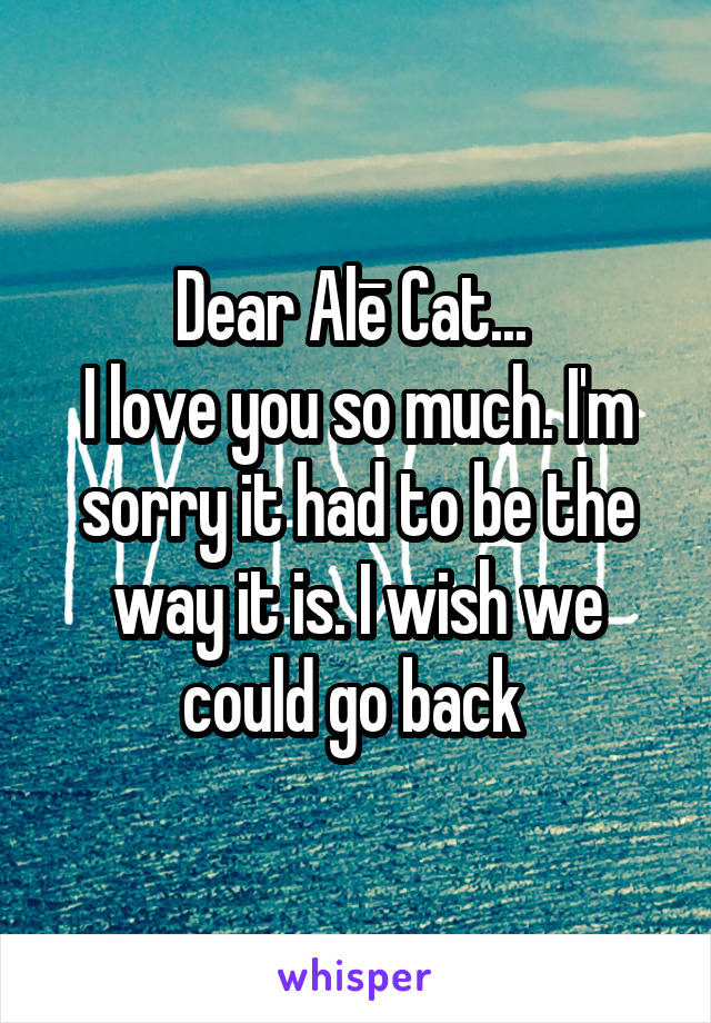 Dear Alē Cat...  I love you so much. I'm sorry it had to be the way it is. I wish we could go back