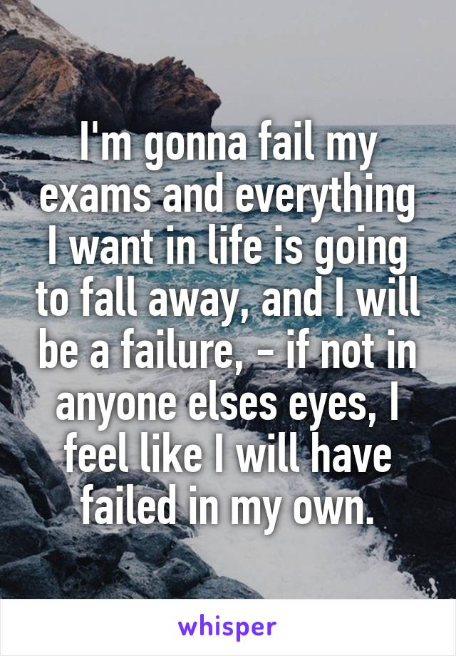 I'm gonna fail my exams and everything I want in life is going to fall away, and I will be a failure, - if not in anyone elses eyes, I feel like I will have failed in my own.