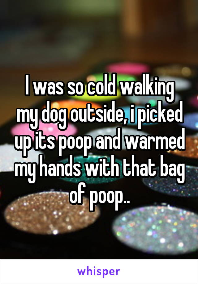 I was so cold walking my dog outside, i picked up its poop and warmed my hands with that bag of poop..