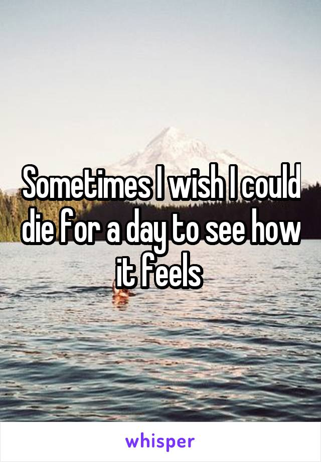 Sometimes I wish I could die for a day to see how it feels