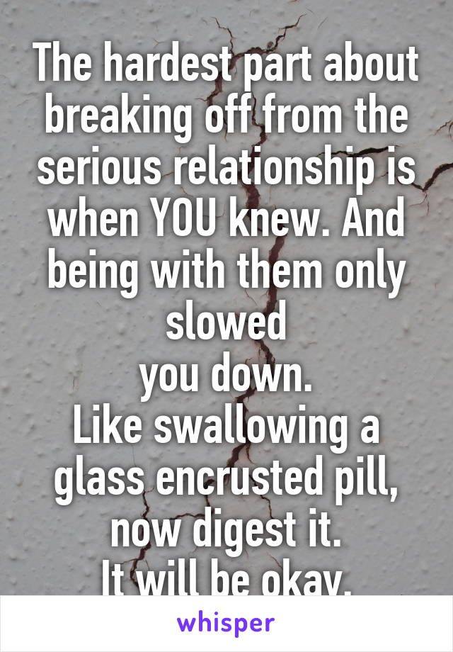 The hardest part about breaking off from the serious relationship is when YOU knew. And being with them only slowed you down. Like swallowing a glass encrusted pill, now digest it. It will be okay.