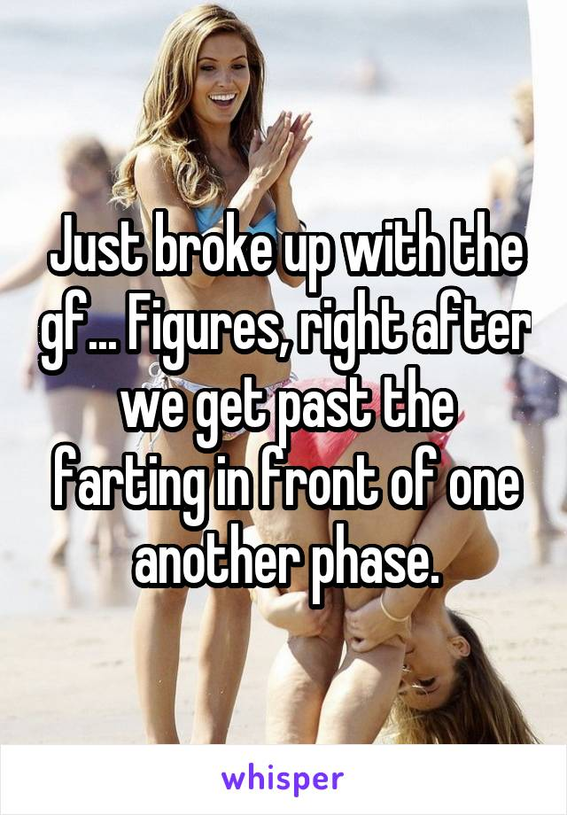 Just broke up with the gf... Figures, right after we get past the farting in front of one another phase.