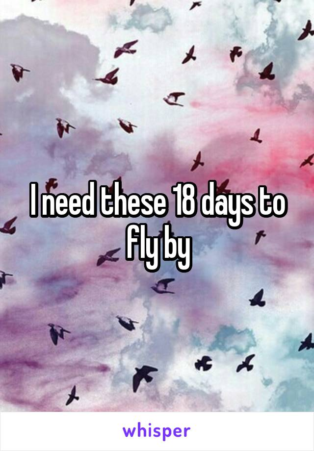 I need these 18 days to fly by