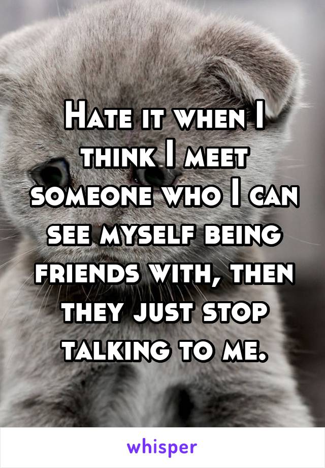 Hate it when I think I meet someone who I can see myself being friends with, then they just stop talking to me.