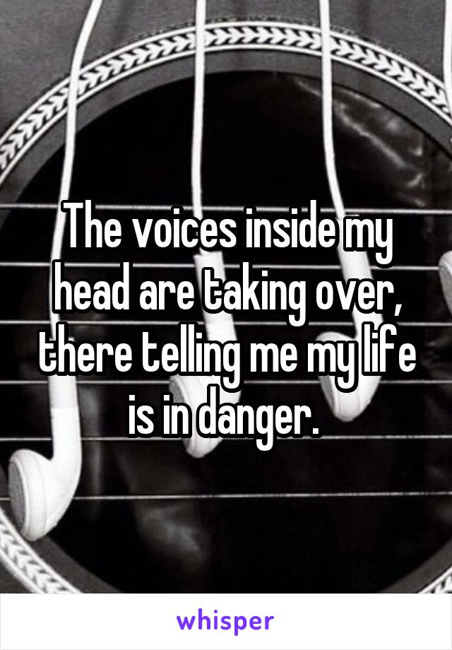 The voices inside my head are taking over, there telling me my life is in danger.