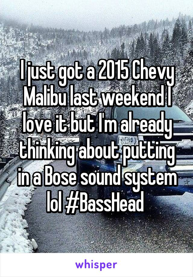 I just got a 2015 Chevy Malibu last weekend I love it but I'm already thinking about putting in a Bose sound system lol #BassHead