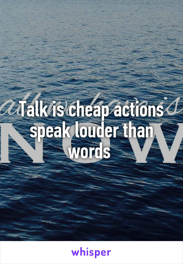 Talk is cheap actions speak louder than words