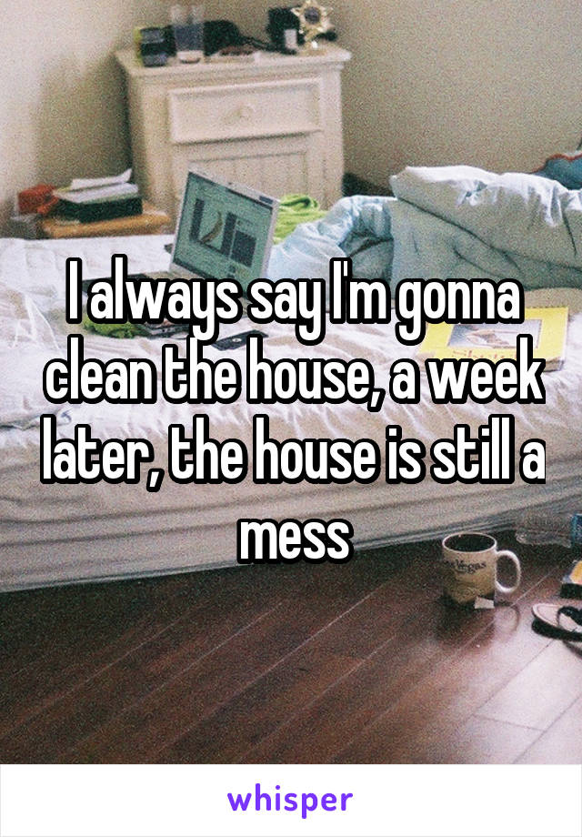 I always say I'm gonna clean the house, a week later, the house is still a mess