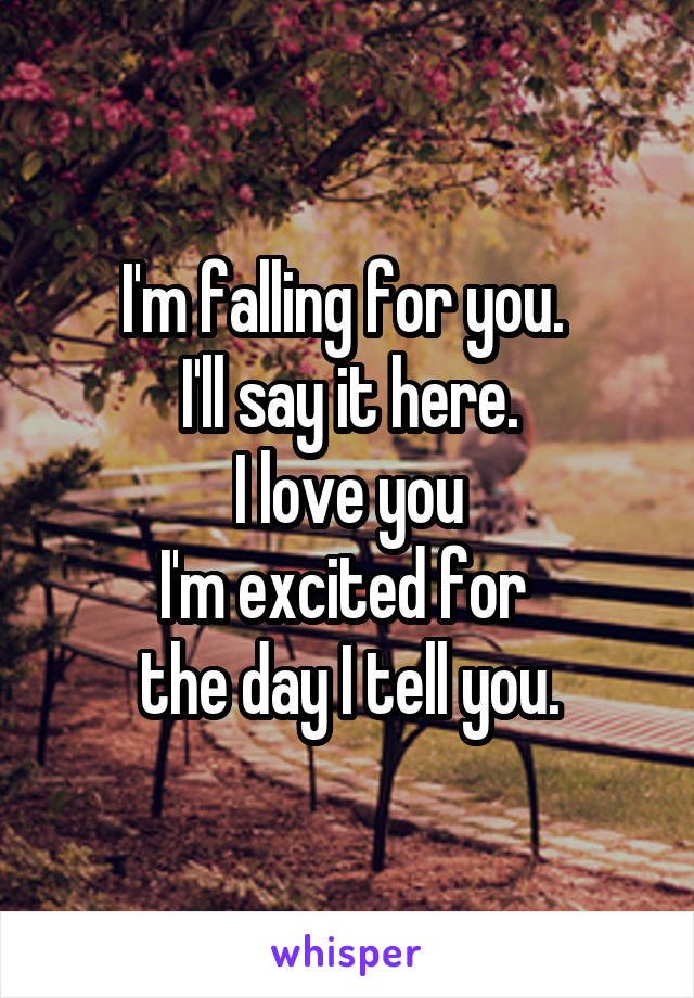 I'm falling for you.  I'll say it here. I love you I'm excited for  the day I tell you.