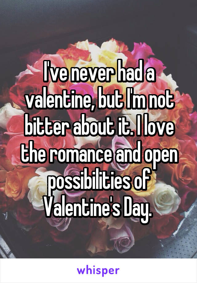 I've never had a valentine, but I'm not bitter about it. I love the romance and open possibilities of Valentine's Day.