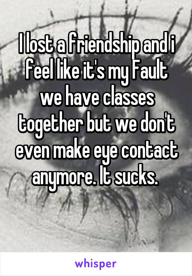 I lost a friendship and i feel like it's my Fault we have classes together but we don't even make eye contact anymore. It sucks.