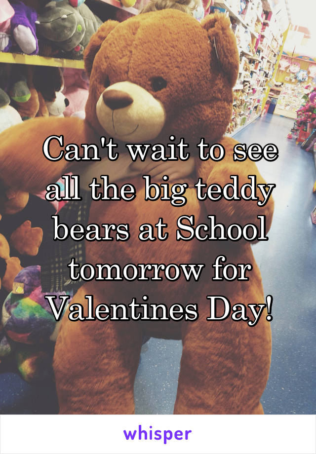 Can't wait to see all the big teddy bears at School tomorrow for Valentines Day!