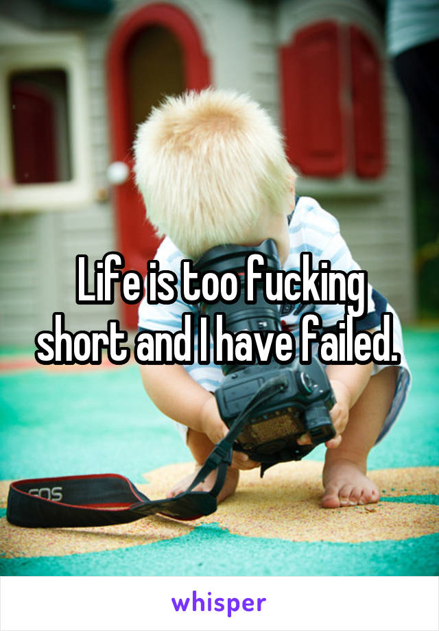 Life is too fucking short and I have failed.