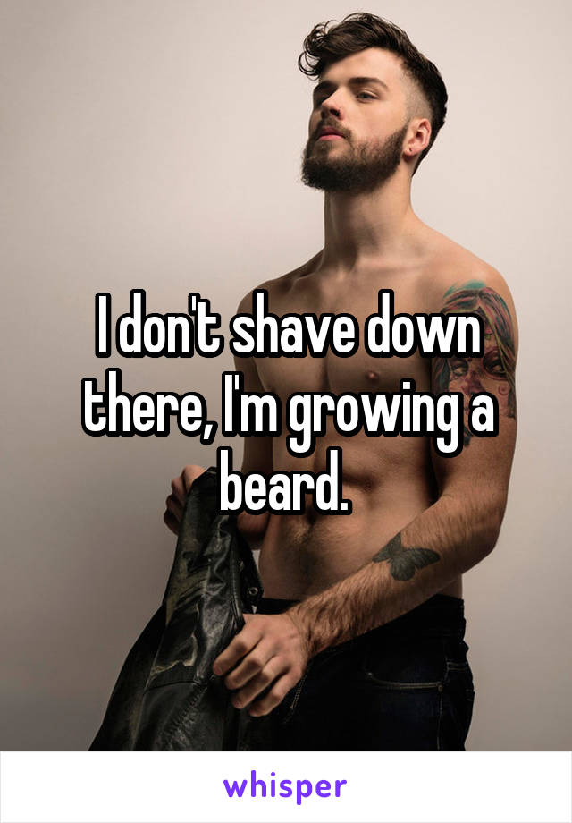 I don't shave down there, I'm growing a beard.