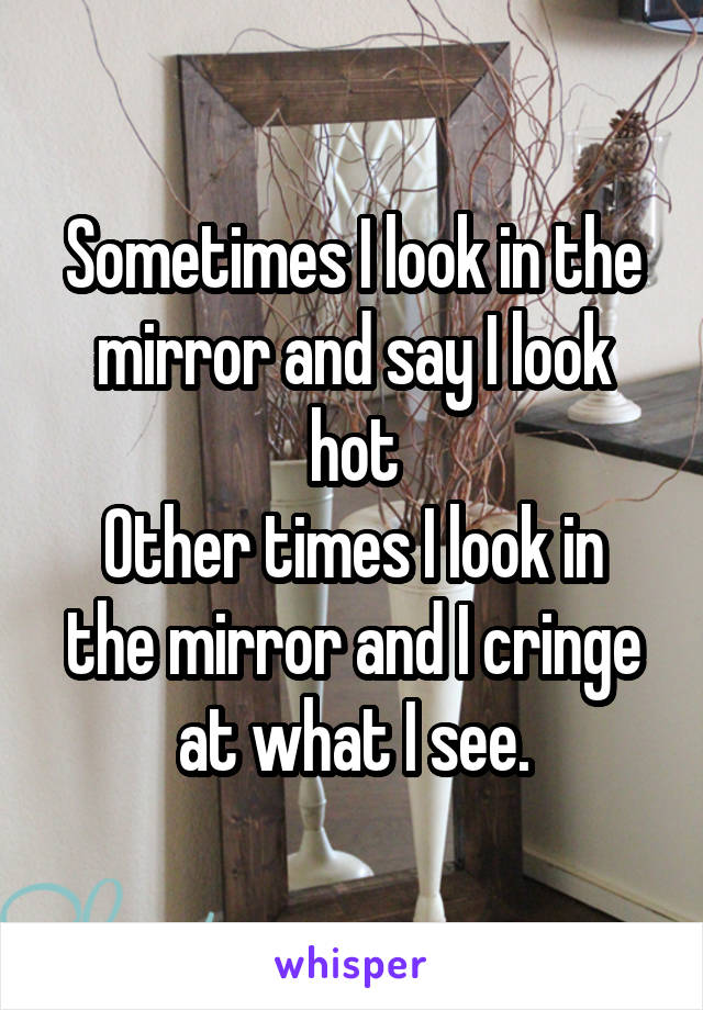 Sometimes I look in the mirror and say I look hot Other times I look in the mirror and I cringe at what I see.