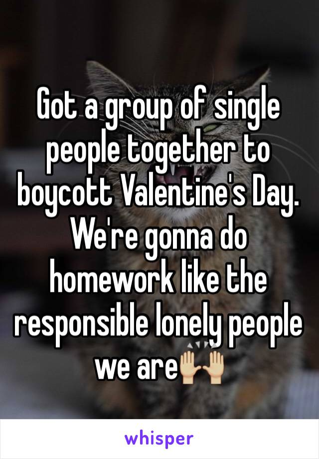 Got a group of single people together to boycott Valentine's Day. We're gonna do homework like the responsible lonely people we are🙌🏼