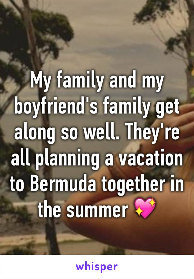 My family and my boyfriend's family get along so well. They're all planning a vacation to Bermuda together in the summer 💖