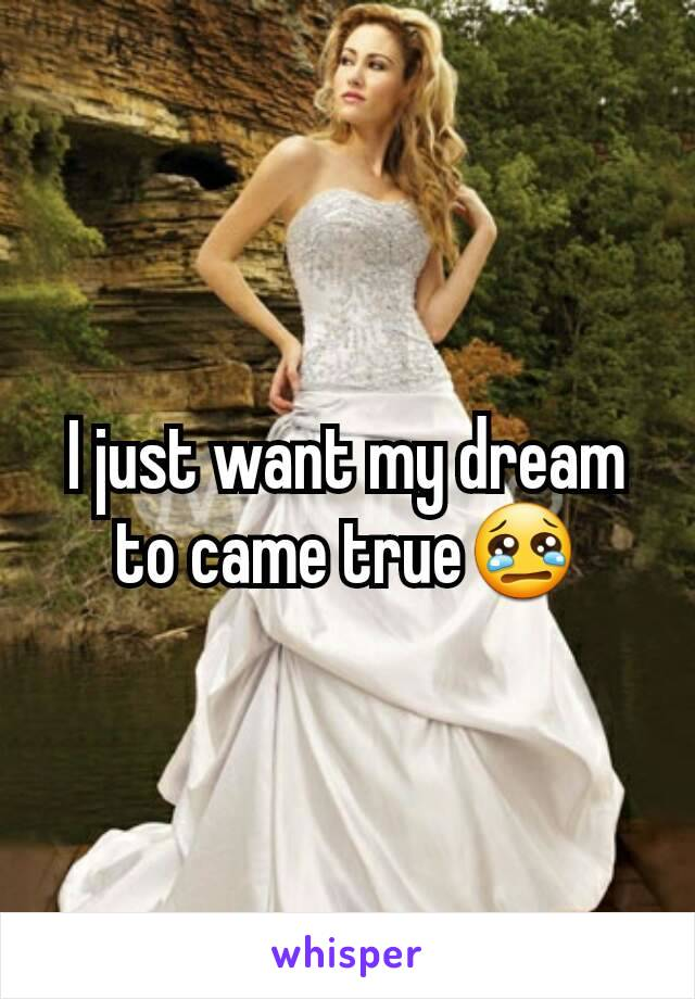 I just want my dream to came true😢