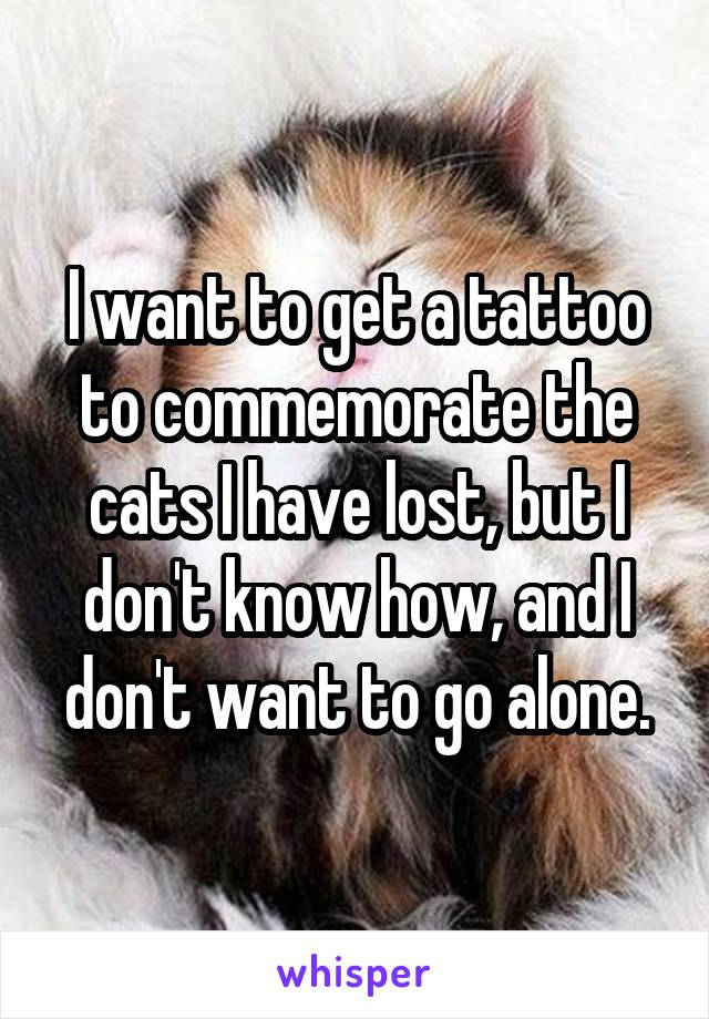 I want to get a tattoo to commemorate the cats I have lost, but I don't know how, and I don't want to go alone.