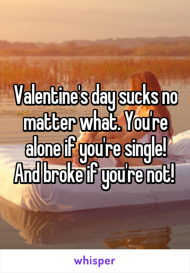 Valentine's day sucks no matter what. You're alone if you're single! And broke if you're not!