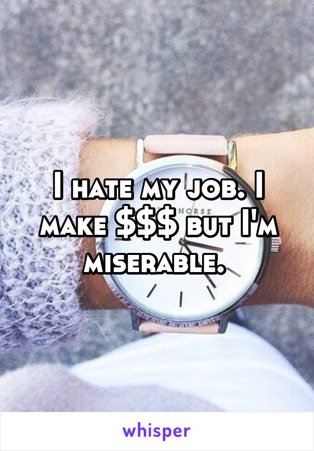 I hate my job. I make $$$ but I'm miserable.
