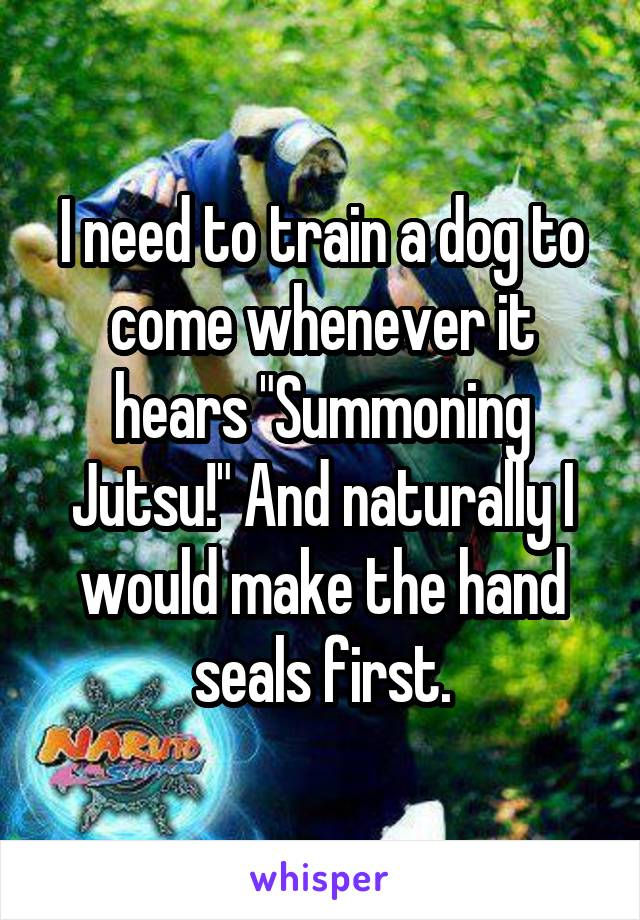 """I need to train a dog to come whenever it hears """"Summoning Jutsu!"""" And naturally I would make the hand seals first."""