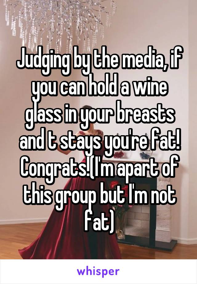 Judging by the media, if you can hold a wine glass in your breasts and t stays you're fat! Congrats!(I'm apart of this group but I'm not fat)