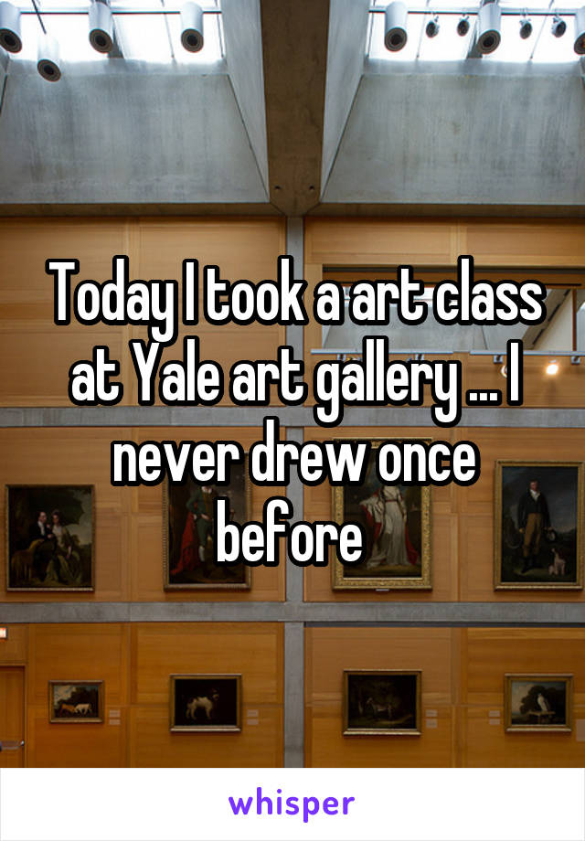 Today I took a art class at Yale art gallery ... I never drew once before