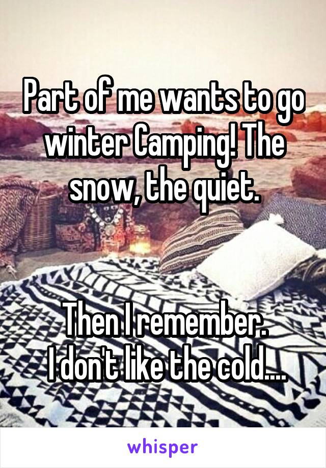 Part of me wants to go winter Camping! The snow, the quiet.   Then I remember.  I don't like the cold....