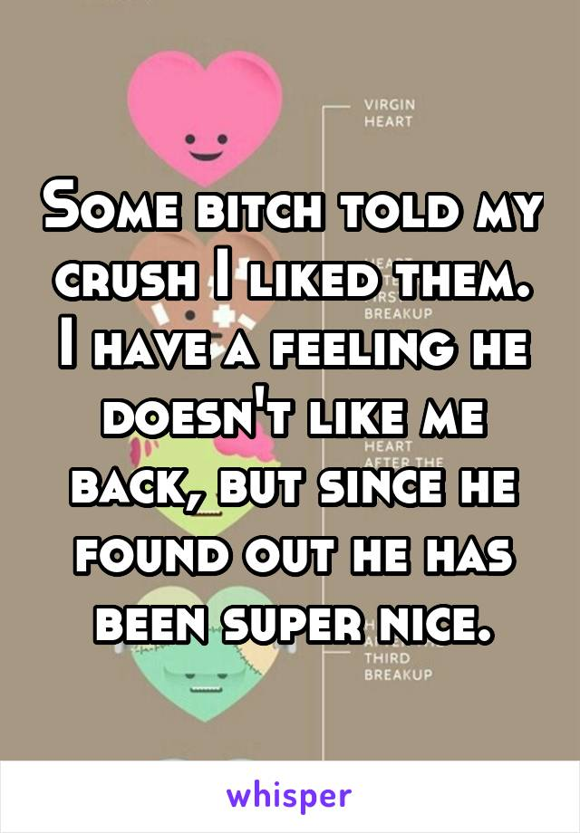 Some bitch told my crush I liked them. I have a feeling he doesn't like me back, but since he found out he has been super nice.