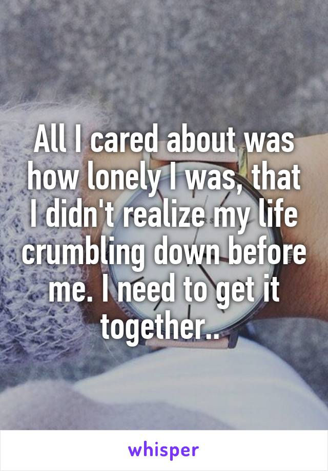 All I cared about was how lonely I was, that I didn't realize my life crumbling down before me. I need to get it together..
