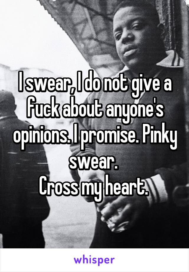I swear, I do not give a fuck about anyone's opinions. I promise. Pinky swear.  Cross my heart.